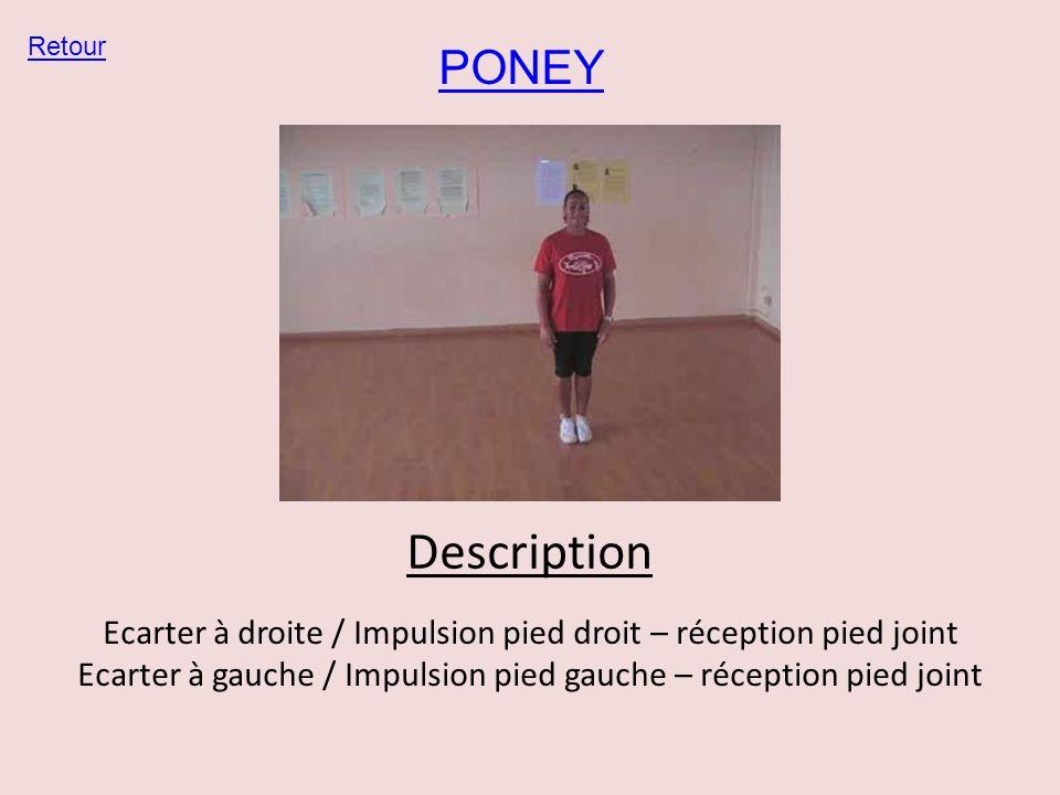 PONEY Retour Description Ecarter à droite / Impulsion pied droit – réception pied joint Ecarter à gauche / Impulsion pied gauche – réception pied join