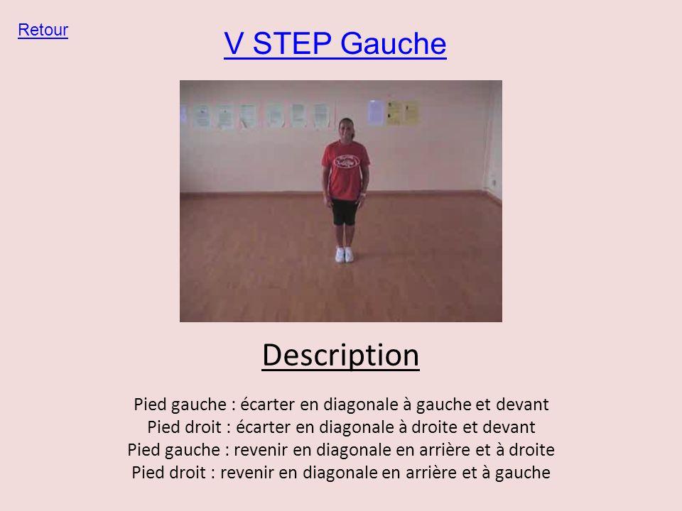 V STEP Gauche Retour Description Pied gauche : écarter en diagonale à gauche et devant Pied droit : écarter en diagonale à droite et devant Pied gauch