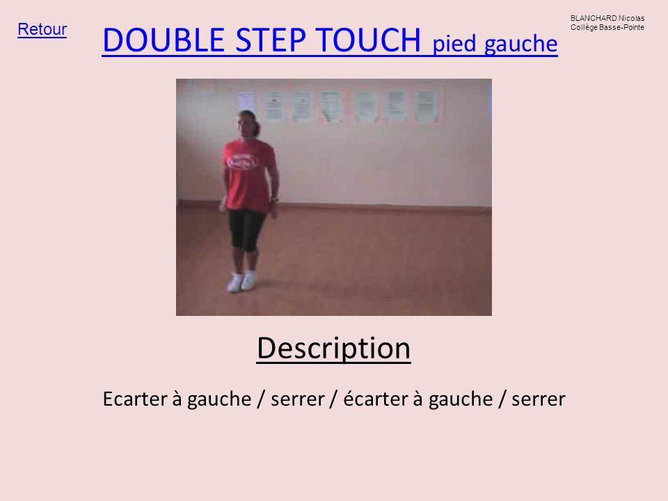 DOUBLE STEP TOUCH pied gauche Retour BLANCHARD Nicolas Collège Basse-Pointe Ecarter à gauche / serrer / écarter à gauche / serrer Description