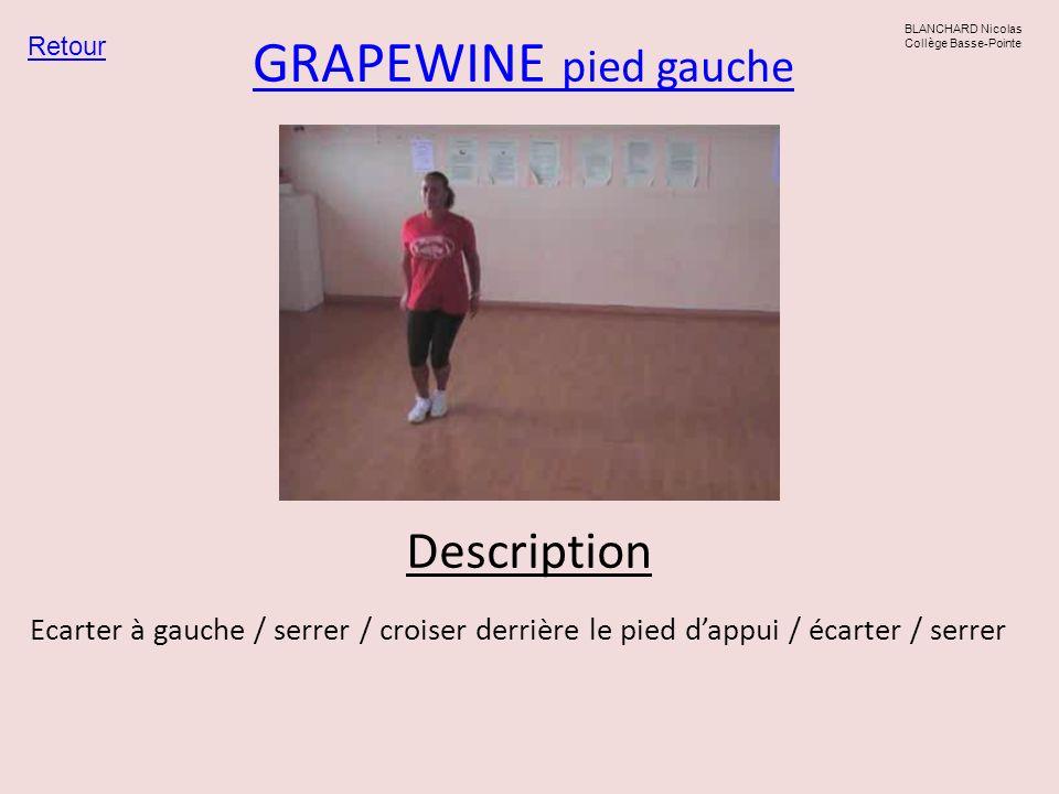 GRAPEWINE pied gauche Retour BLANCHARD Nicolas Collège Basse-Pointe Description Ecarter à gauche / serrer / croiser derrière le pied dappui / écarter