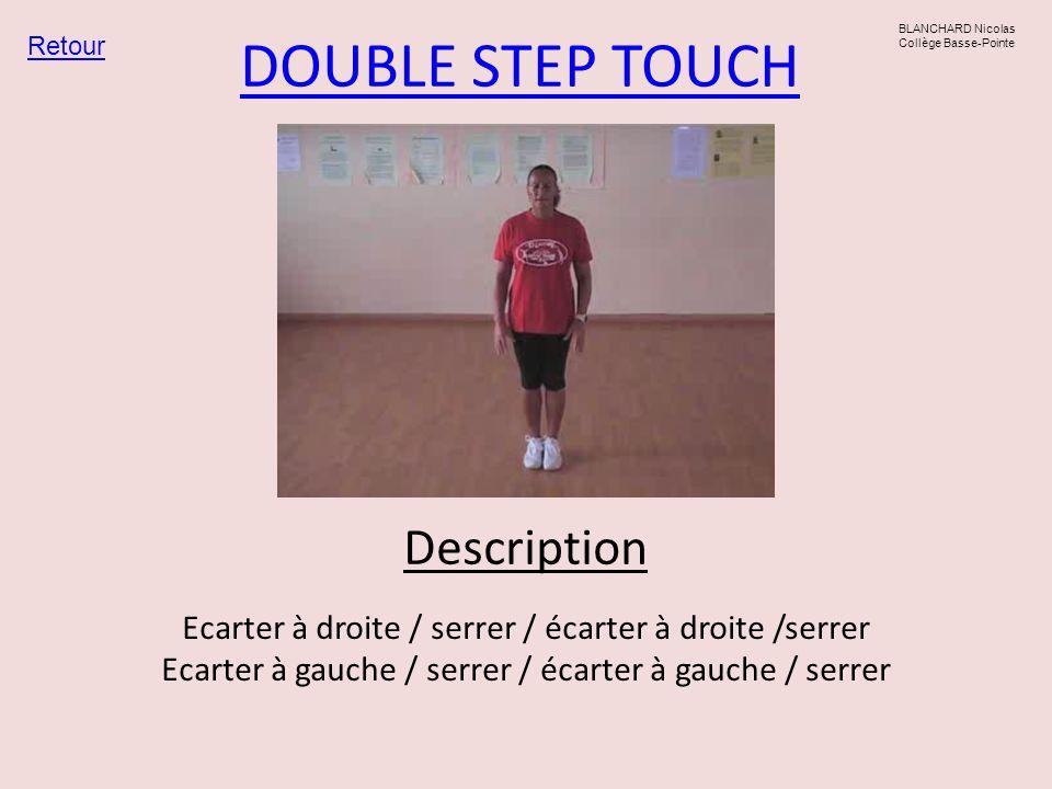 DOUBLE STEP TOUCH Retour BLANCHARD Nicolas Collège Basse-Pointe Ecarter à droite / serrer / écarter à droite /serrer Ecarter à gauche / serrer / écart