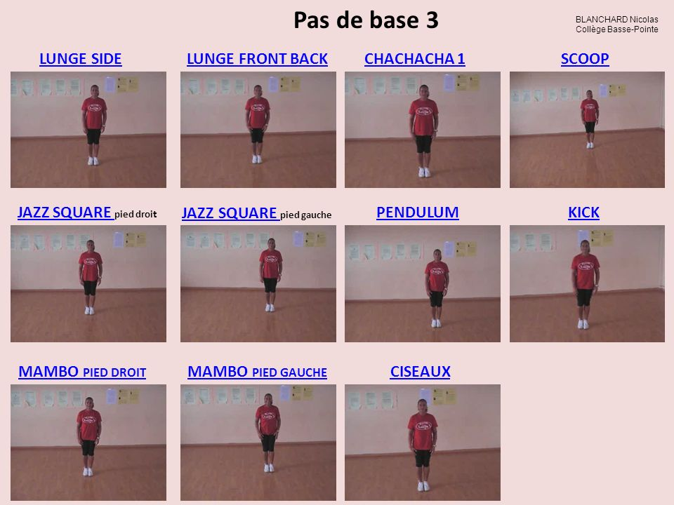 Pas de base 3 MAMBO PIED DROIT LUNGE SIDELUNGE FRONT BACKCHACHACHA 1 JAZZ SQUARE JAZZ SQUARE pied droi t JAZZ SQUARE JAZZ SQUARE pied gauche PENDULUMK
