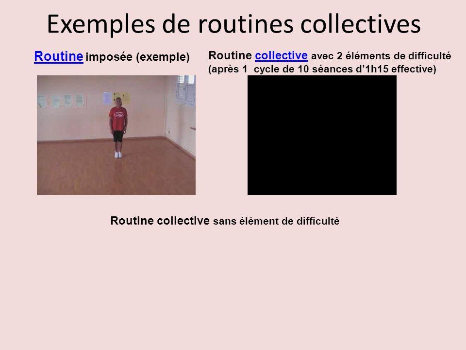 Exemples de routines collectives Routine Routine imposée (exemple) Routine collective avec 2 éléments de difficultécollective (après 1 cycle de 10 séa