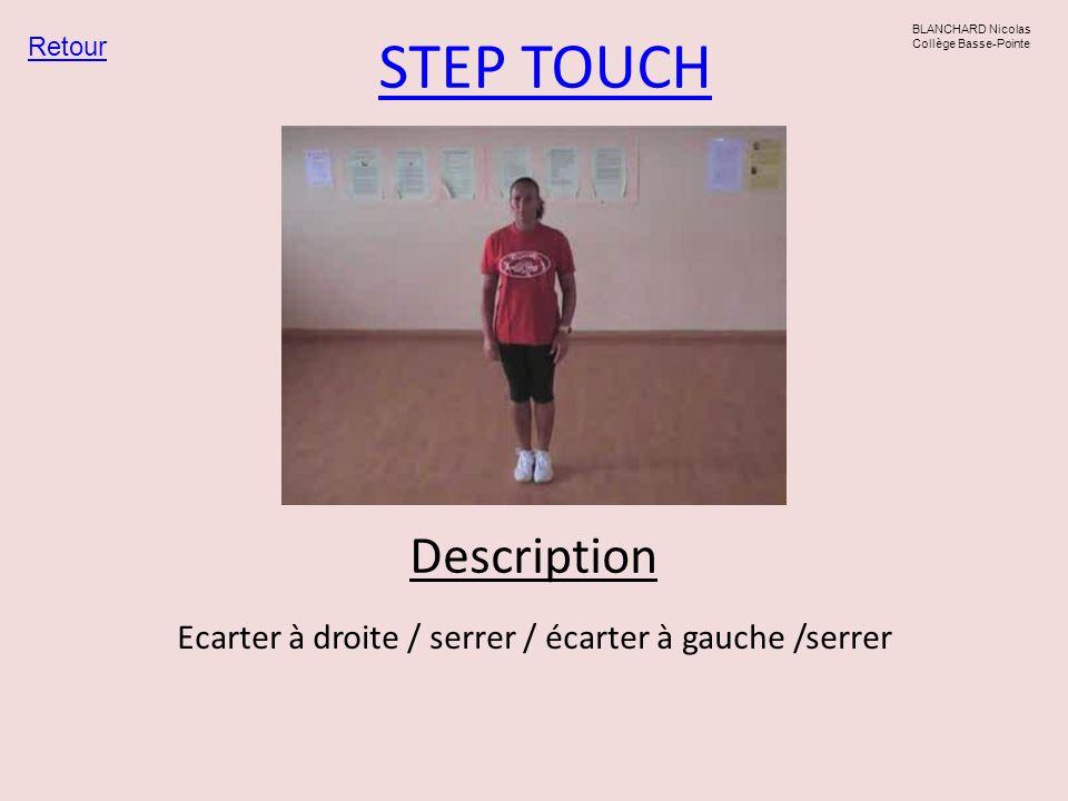 A STEP pied gauche Retour BLANCHARD Nicolas Collège Basse-Pointe Ecarter à droite / serrer / écarter à droite /serrer Ecarter à gauche / serrer / écarter à gauche / serrer Description