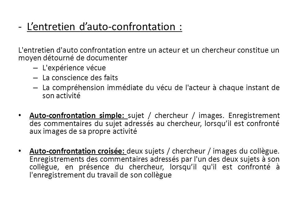 - Lentretien dauto-confrontation : L'entretien d'auto confrontation entre un acteur et un chercheur constitue un moyen détourné de documenter – L'expé