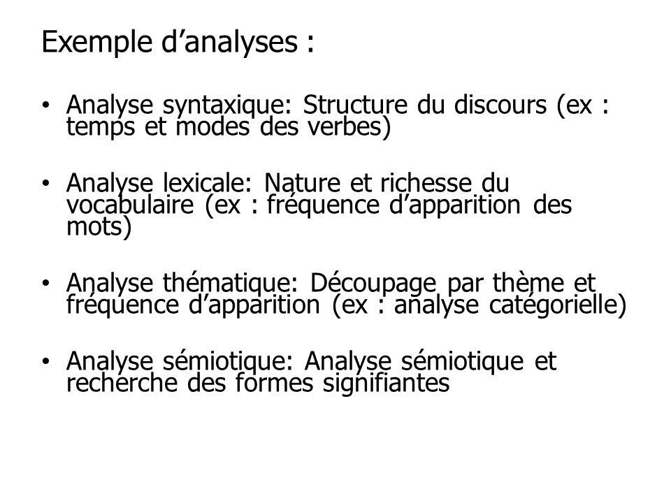 Exemple danalyses : Analyse syntaxique: Structure du discours (ex : temps et modes des verbes) Analyse lexicale: Nature et richesse du vocabulaire (ex