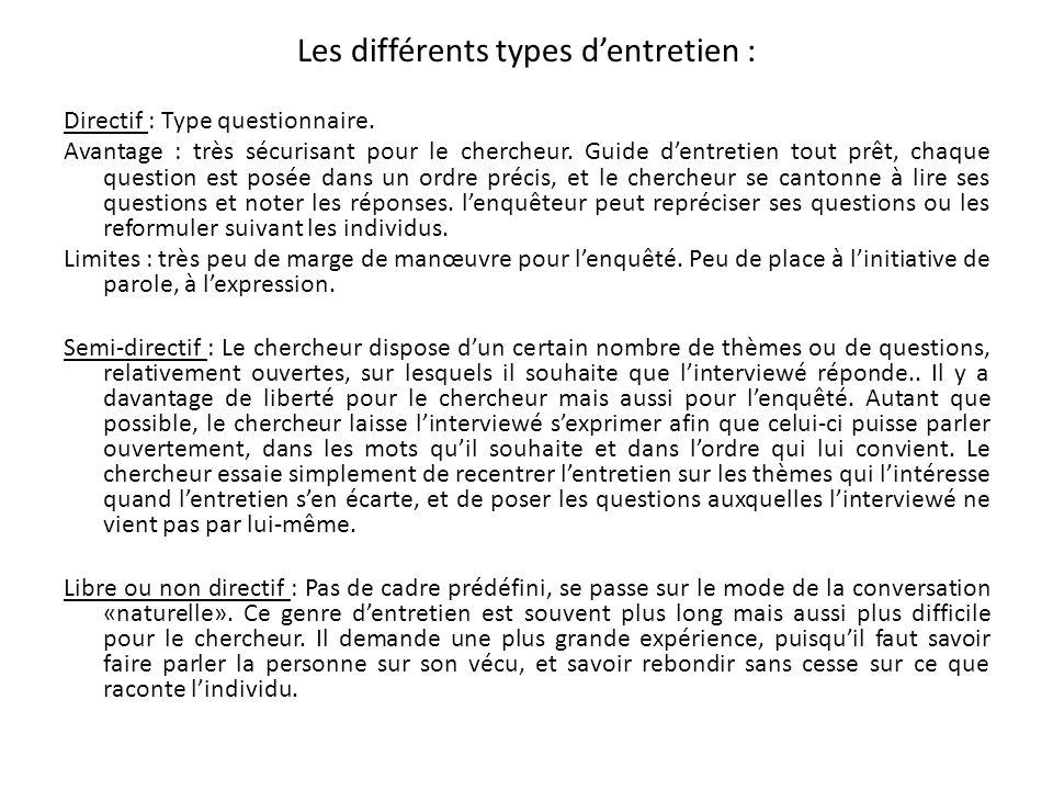 Les différents types dentretien : Directif : Type questionnaire. Avantage : très sécurisant pour le chercheur. Guide dentretien tout prêt, chaque ques