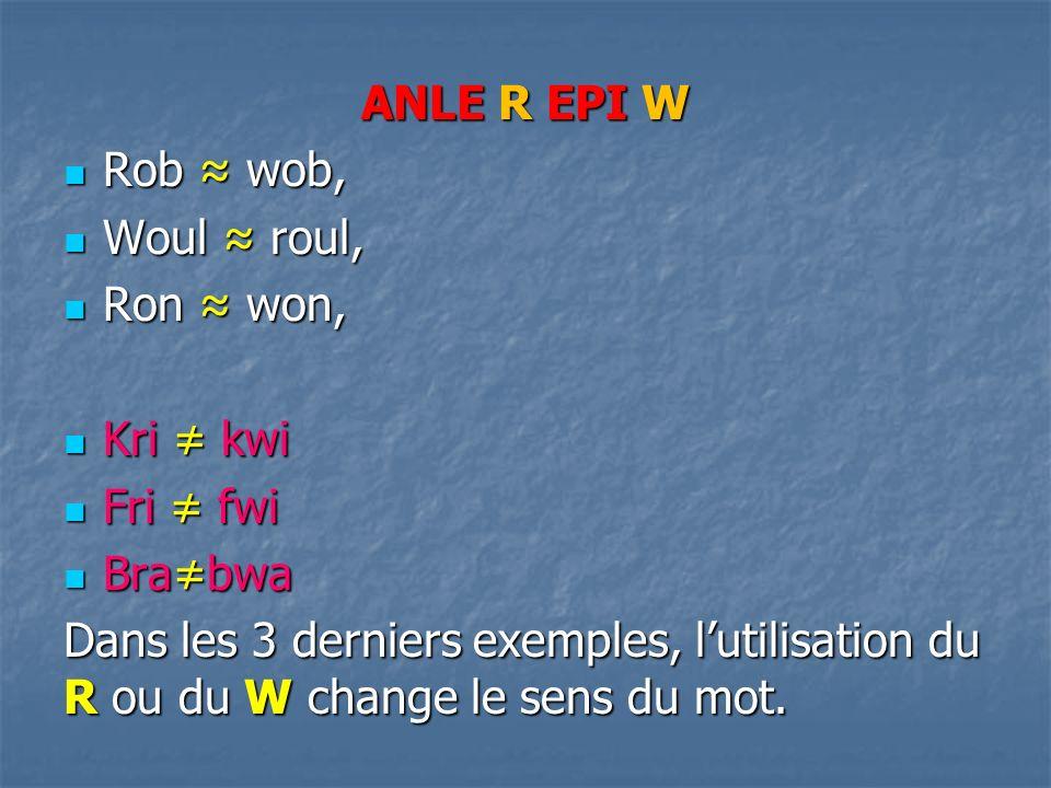 ANLE R EPI W Rob wob, Rob wob, Woul roul, Woul roul, Ron won, Ron won, Kri kwi Kri kwi Fri fwi Fri fwi Brabwa Brabwa Dans les 3 derniers exemples, lutilisation du R ou du W change le sens du mot.