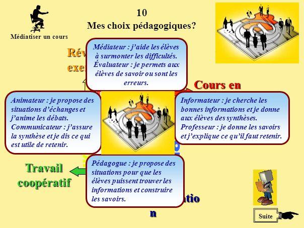 10 Suite Médiatiser un cours Cours en ligne Simulatio n Travail coopératif Révision exercices Mes choix pédagogiques.