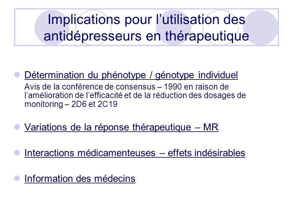 Implications pour lutilisation des antidépresseurs en thérapeutique Détermination du phénotype / génotype individuel Avis de la conférence de consensu