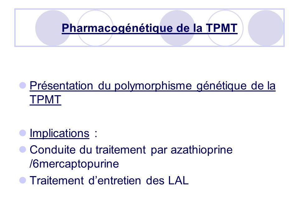 Pharmacogénétique de la TPMT Présentation du polymorphisme génétique de la TPMT Implications : Conduite du traitement par azathioprine /6mercaptopurine Traitement dentretien des LAL