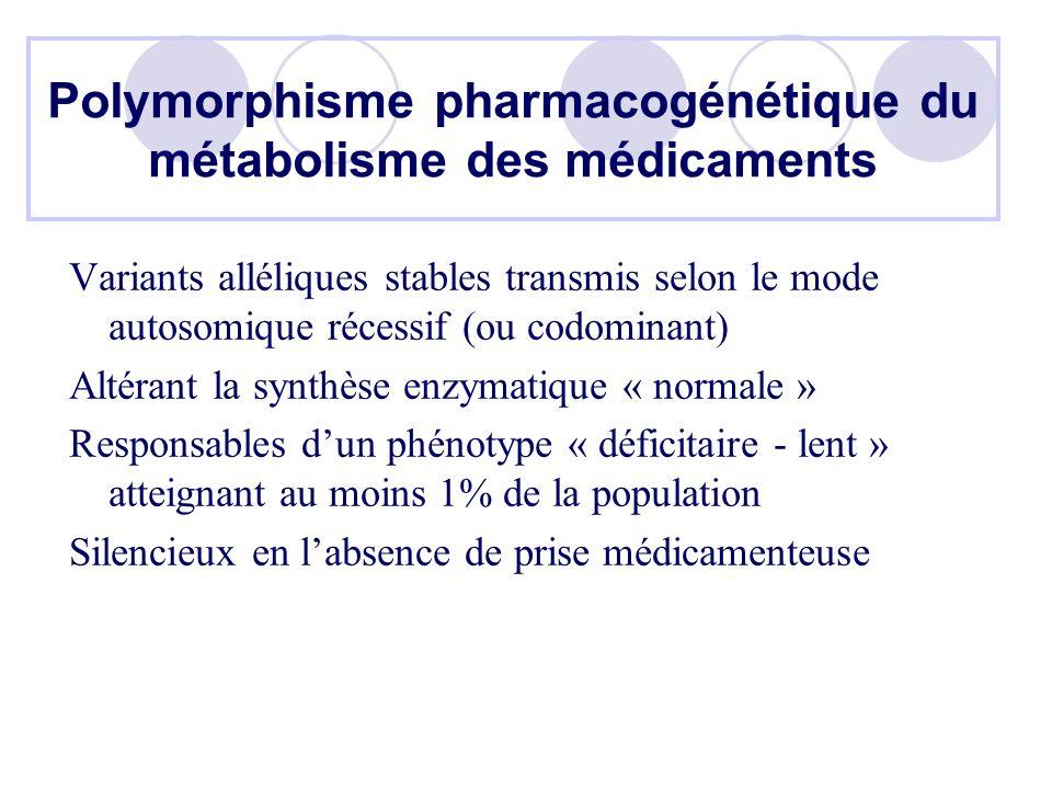Polymorphisme pharmacogénétique du métabolisme des médicaments Variants alléliques stables transmis selon le mode autosomique récessif (ou codominant) Altérant la synthèse enzymatique « normale » Responsables dun phénotype « déficitaire - lent » atteignant au moins 1% de la population Silencieux en labsence de prise médicamenteuse