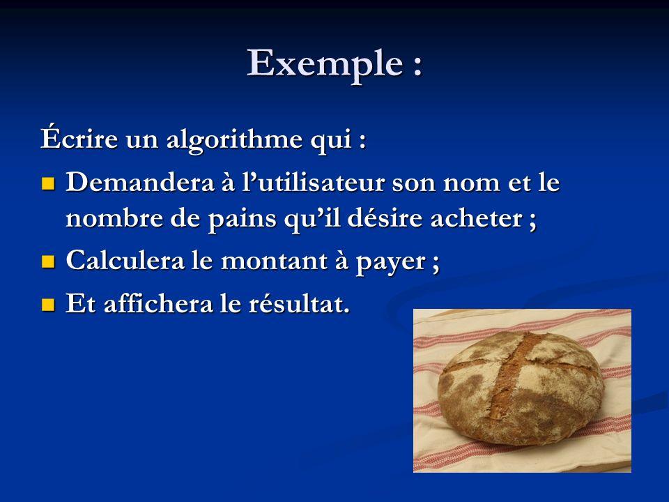 Exemple Exemple Algorithme Prix_du_pain Variables Nom : Chaîne de caractères (* nom de la personne *) Nombre : Entier (* nombre de pains demandés *) Montant: Réel(* montant à payer *) Constantes Prix = 1,20 (* prix dun pain *) Début (* commentaires *) (* commentaires *) Instruction1 Instruction1 Instruction2 Instruction2Fin