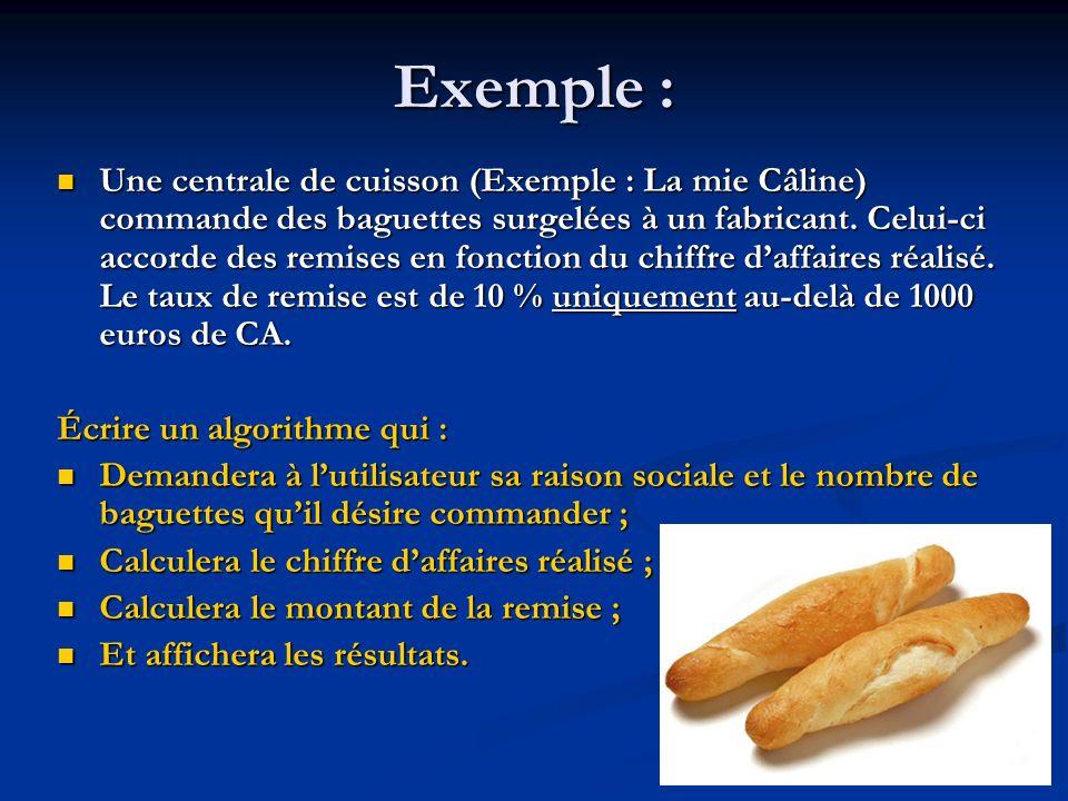 Algorithme prix_du_pain Variables Raison : Chaîne de caractères (* raison sociale de lent.