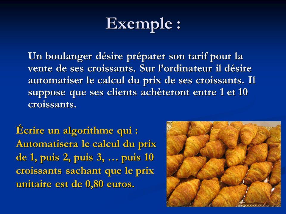 Algorithme Prix_des_croissants Variables Compteur : entier (* permet de compter de 1 à 10 *) Montant : réel(* montant à payer lors de lachat de croissants *) Début Afficher « Tarif des croissants : » POUR Compteur allant de 1 à 10 faire Montant Compteur * 0,80 SI Compteur = 1 ALORS Afficher Compteur, « croissant coûte », Montant, « » SINON Afficher Compteur, « croissants coûtent »,Montant, « » FINSIFINPOURFin