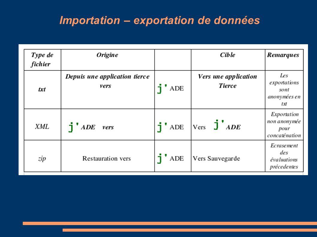 Importation – exportation de données