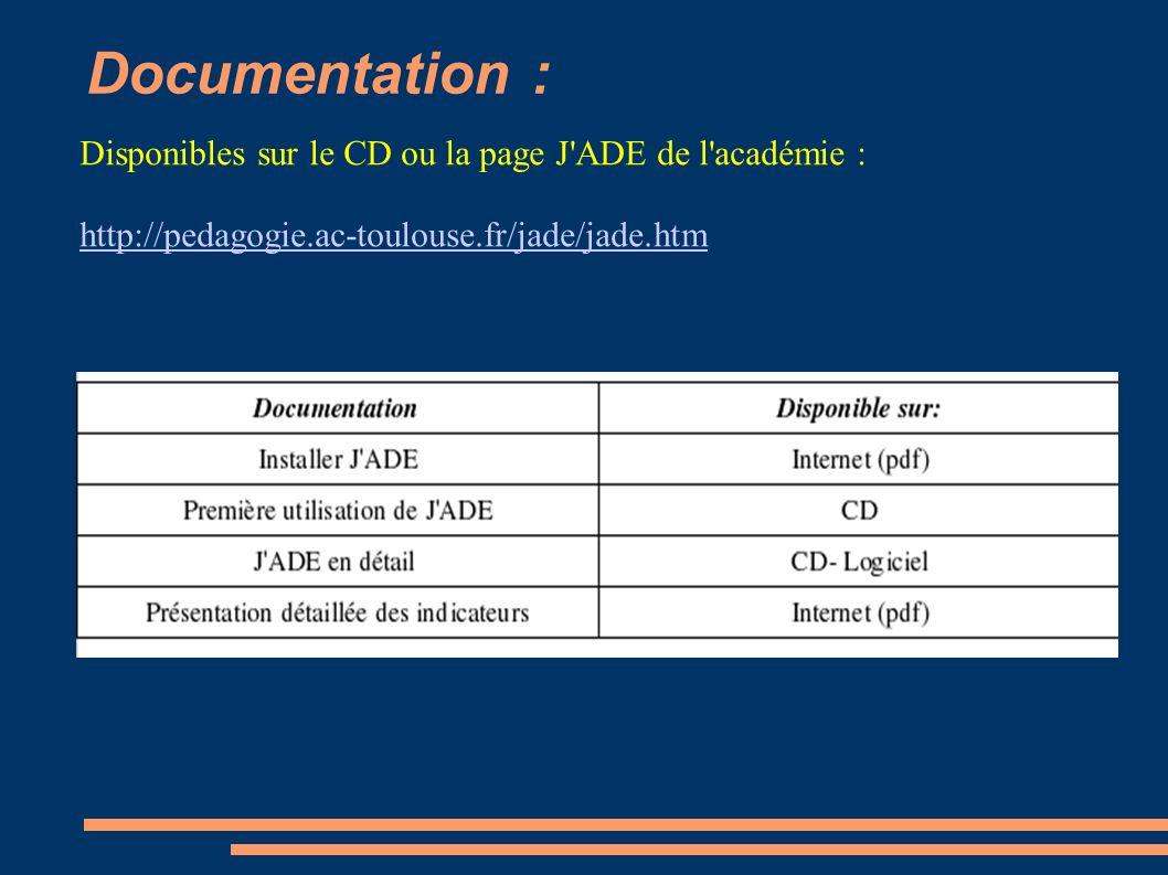 Documentation : Disponibles sur le CD ou la page J'ADE de l'académie : http://pedagogie.ac-toulouse.fr/jade/jade.htm