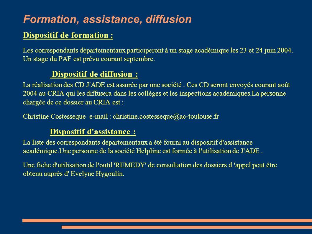 Formation, assistance, diffusion Dispositif de formation : Les correspondants départementaux participeront à un stage académique les 23 et 24 juin 200