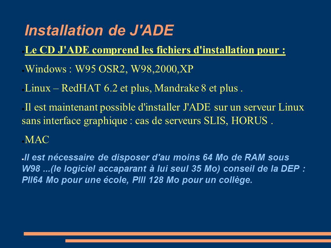 Installation de J'ADE Le CD J'ADE comprend les fichiers d'installation pour : Windows : W95 OSR2, W98,2000,XP Linux – RedHAT 6.2 et plus, Mandrake 8 e