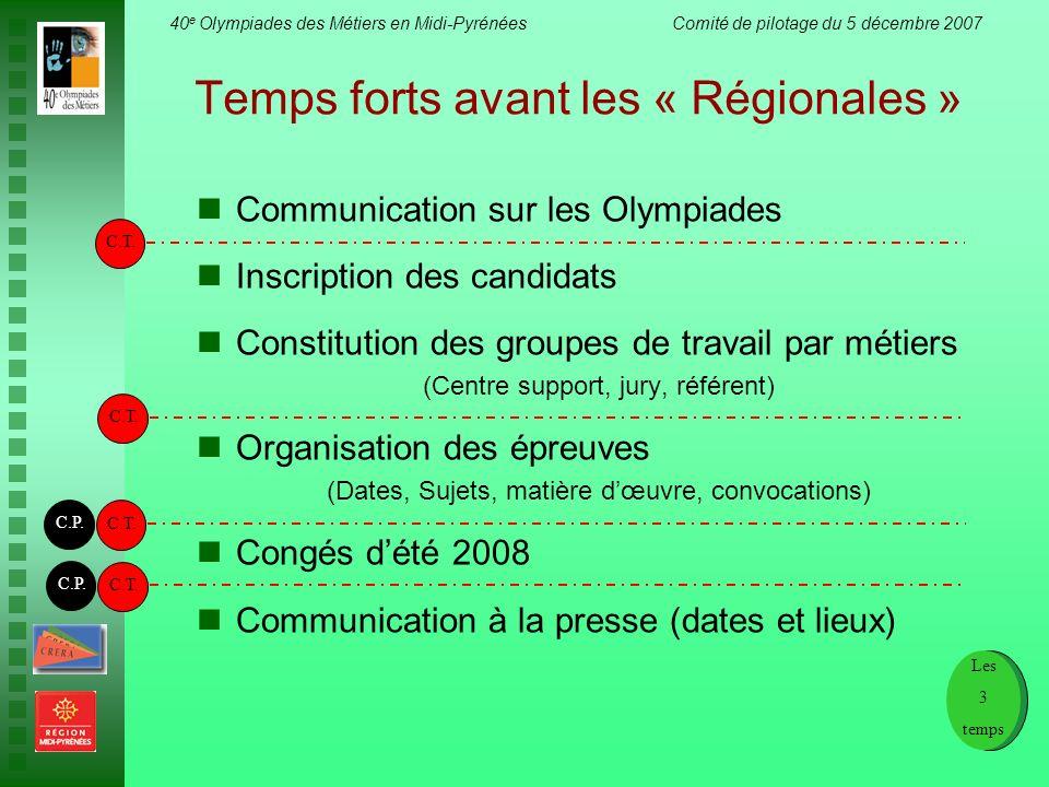 40 e Olympiades des Métiers en Midi-Pyrénées Comité de pilotage du 5 décembre 2007 Temps forts avant les « Régionales » Communication sur les Olympiad