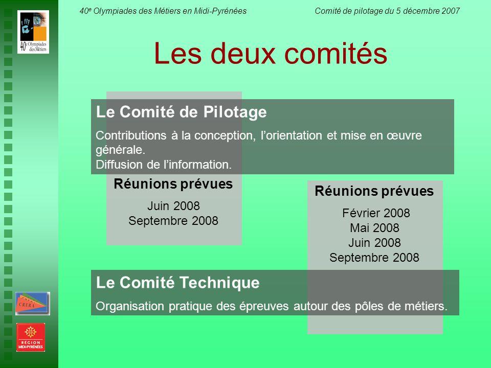40 e Olympiades des Métiers en Midi-Pyrénées Comité de pilotage du 5 décembre 2007 Réunions prévues Juin 2008 Septembre 2008 Les deux comités Le Comit
