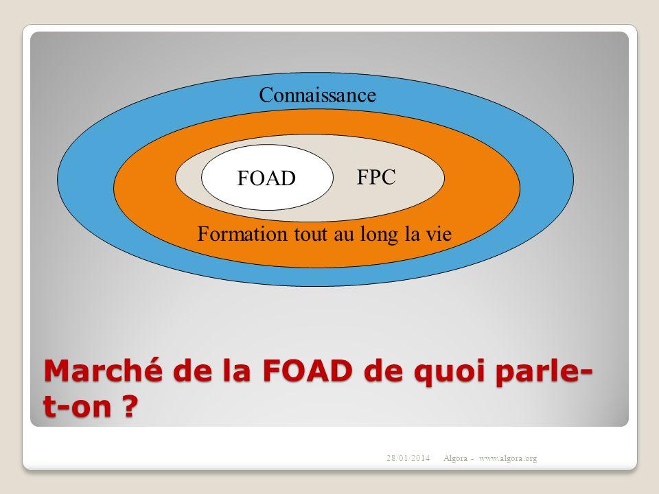 Marché de la FOAD de quoi parle- t-on ? 28/01/2014Algora - www.algora.org FOAD Connaissance Formation tout au long la vie FPC