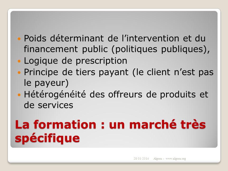 La formation : un marché très spécifique Poids déterminant de lintervention et du financement public (politiques publiques), Logique de prescription P