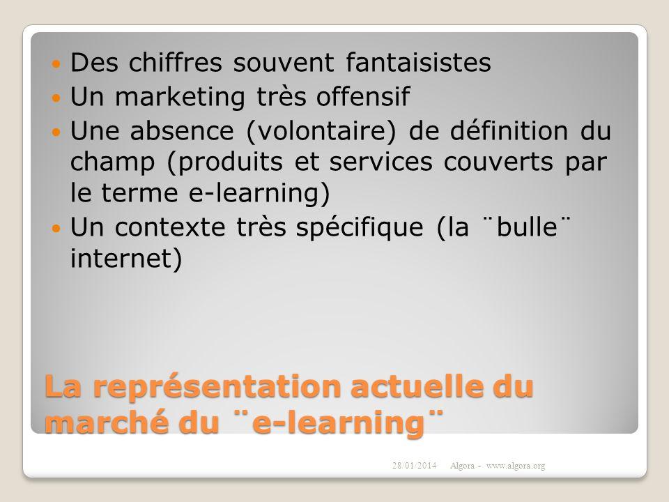 La représentation actuelle du marché du ¨e-learning¨ Des chiffres souvent fantaisistes Un marketing très offensif Une absence (volontaire) de définiti