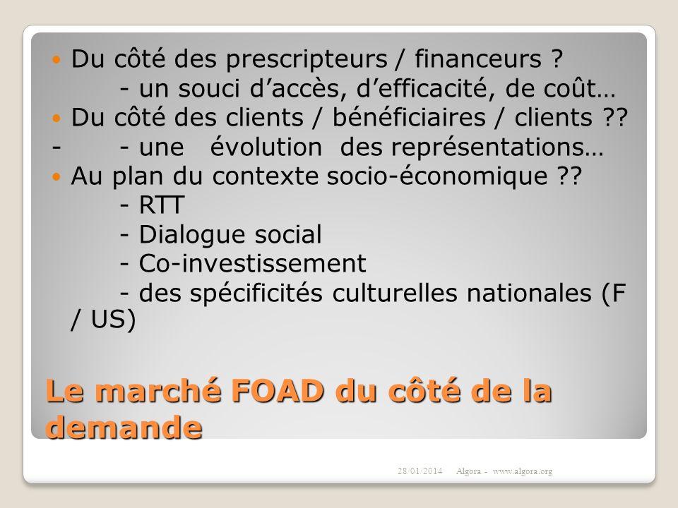 Le marché FOAD du côté de la demande Du côté des prescripteurs / financeurs ? - un souci daccès, defficacité, de coût… Du côté des clients / bénéficia