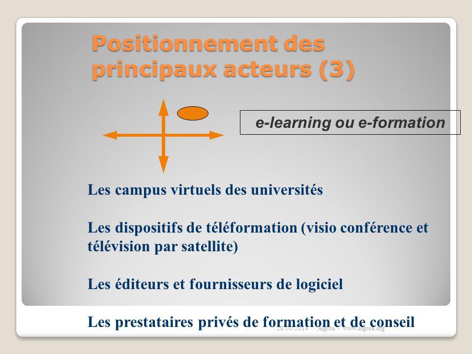 Positionnement des principaux acteurs (3) 28/01/2014Algora - www.algora.org Les campus virtuels des universités Les dispositifs de téléformation (visi