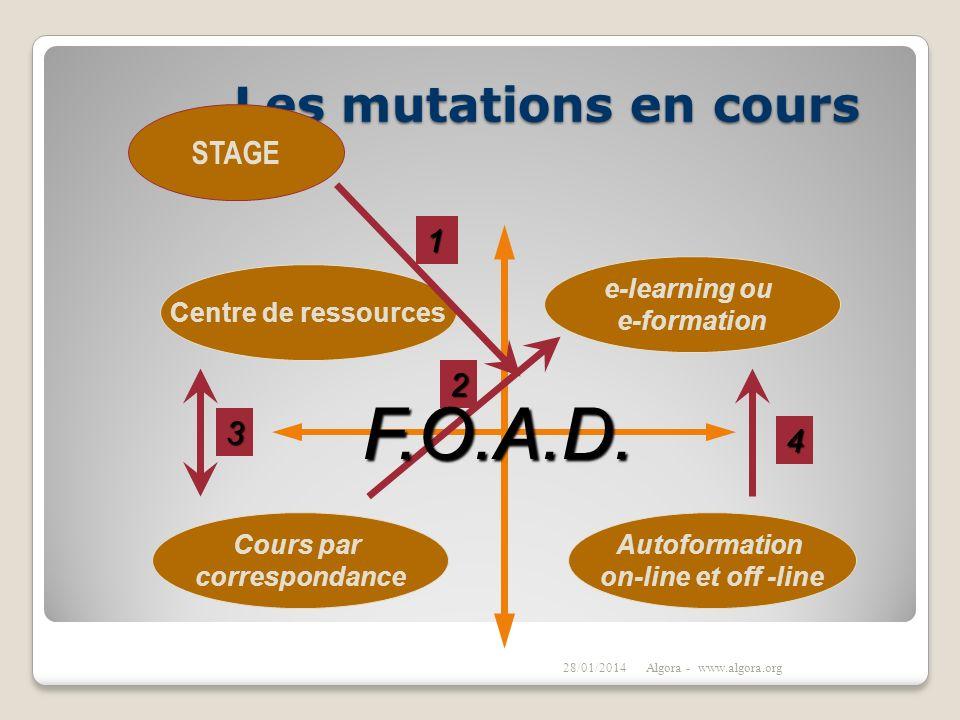 Les mutations en cours 28/01/2014Algora - www.algora.org Cours par correspondance Centre de ressources e-learning ou e-formation Autoformation on-line