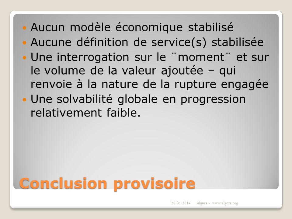 Conclusion provisoire Aucun modèle économique stabilisé Aucune définition de service(s) stabilisée Une interrogation sur le ¨moment¨ et sur le volume