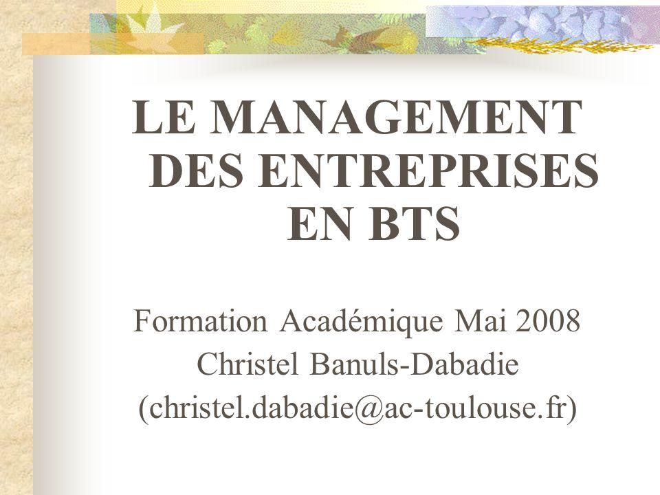 LE MANAGEMENT DES ENTREPRISES EN BTS Formation Académique Mai 2008 Christel Banuls-Dabadie (christel.dabadie@ac-toulouse.fr)