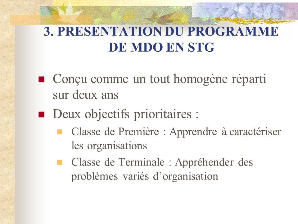 3. PRESENTATION DU PROGRAMME DE MDO EN STG Conçu comme un tout homogène réparti sur deux ans Deux objectifs prioritaires : Classe de Première : Appren