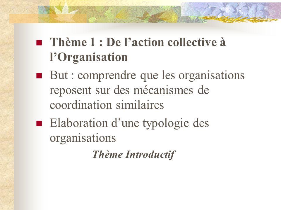 Thème 1 : De laction collective à lOrganisation But : comprendre que les organisations reposent sur des mécanismes de coordination similaires Elaborat