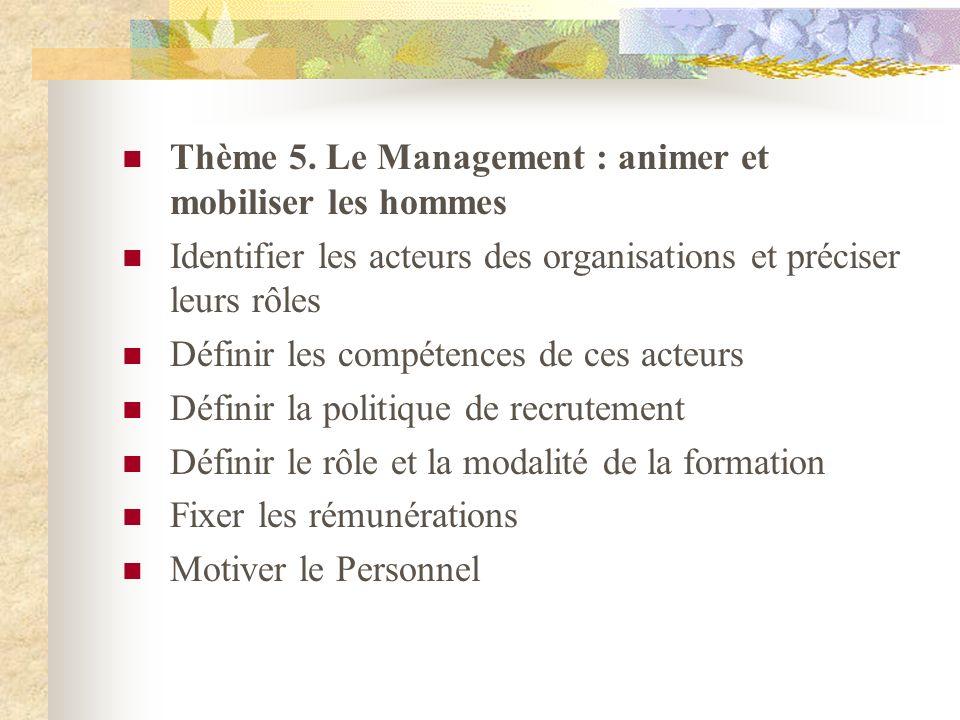 Thème 5. Le Management : animer et mobiliser les hommes Identifier les acteurs des organisations et préciser leurs rôles Définir les compétences de ce