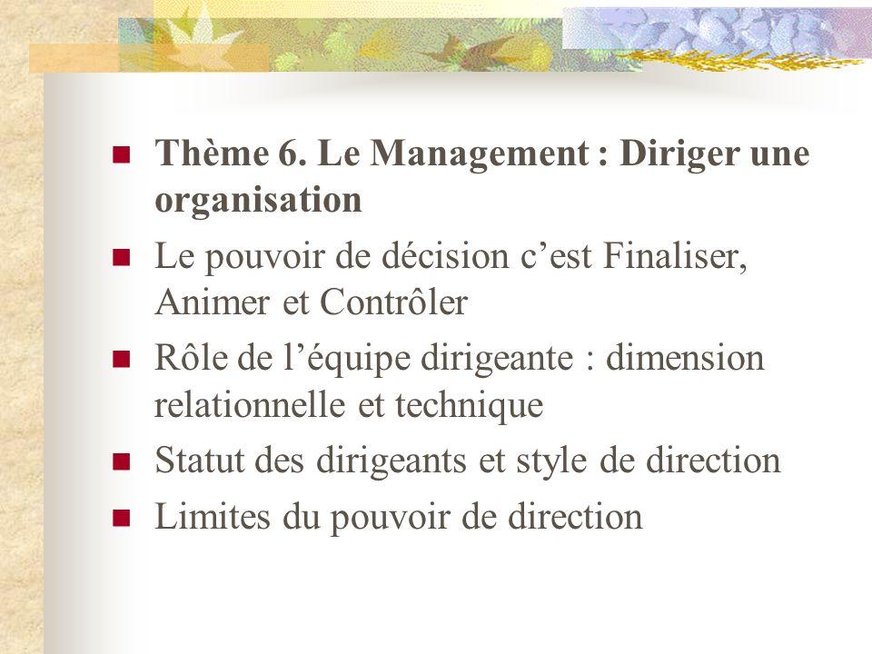 Thème 6. Le Management : Diriger une organisation Le pouvoir de décision cest Finaliser, Animer et Contrôler Rôle de léquipe dirigeante : dimension re