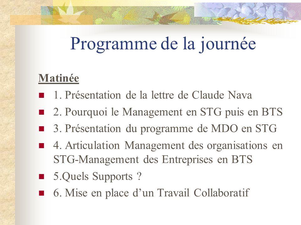 Programme de la journée Matinée 1. Présentation de la lettre de Claude Nava 2. Pourquoi le Management en STG puis en BTS 3. Présentation du programme
