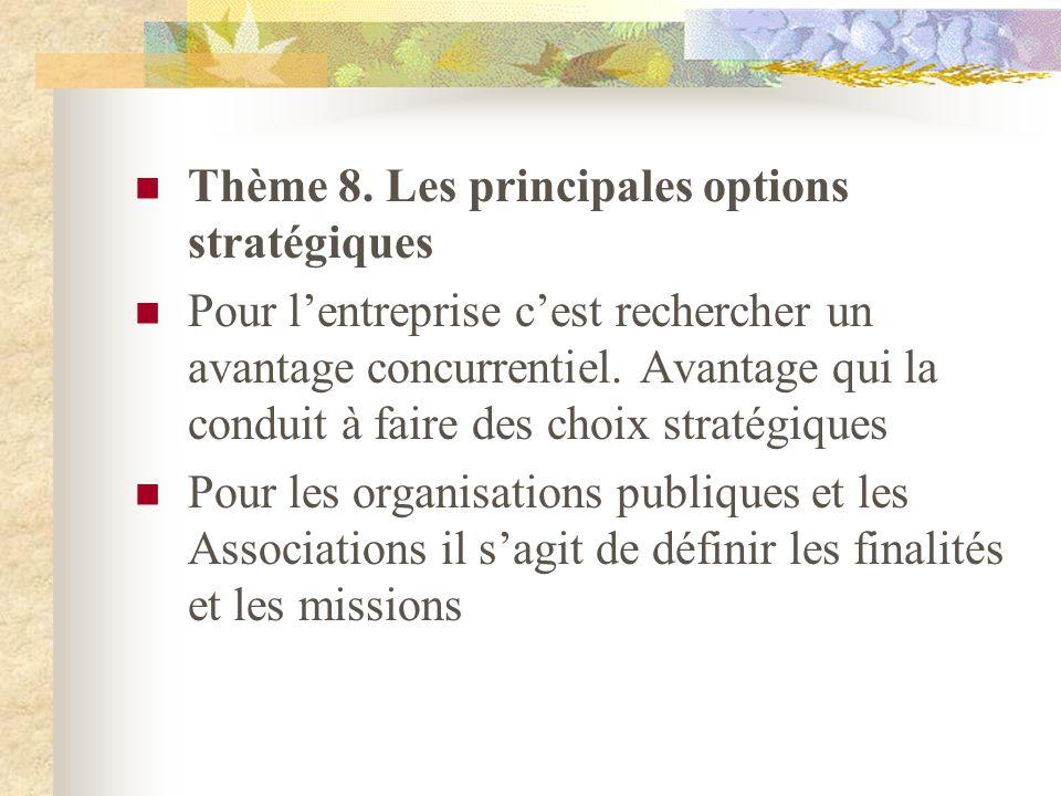 Thème 8. Les principales options stratégiques Pour lentreprise cest rechercher un avantage concurrentiel. Avantage qui la conduit à faire des choix st