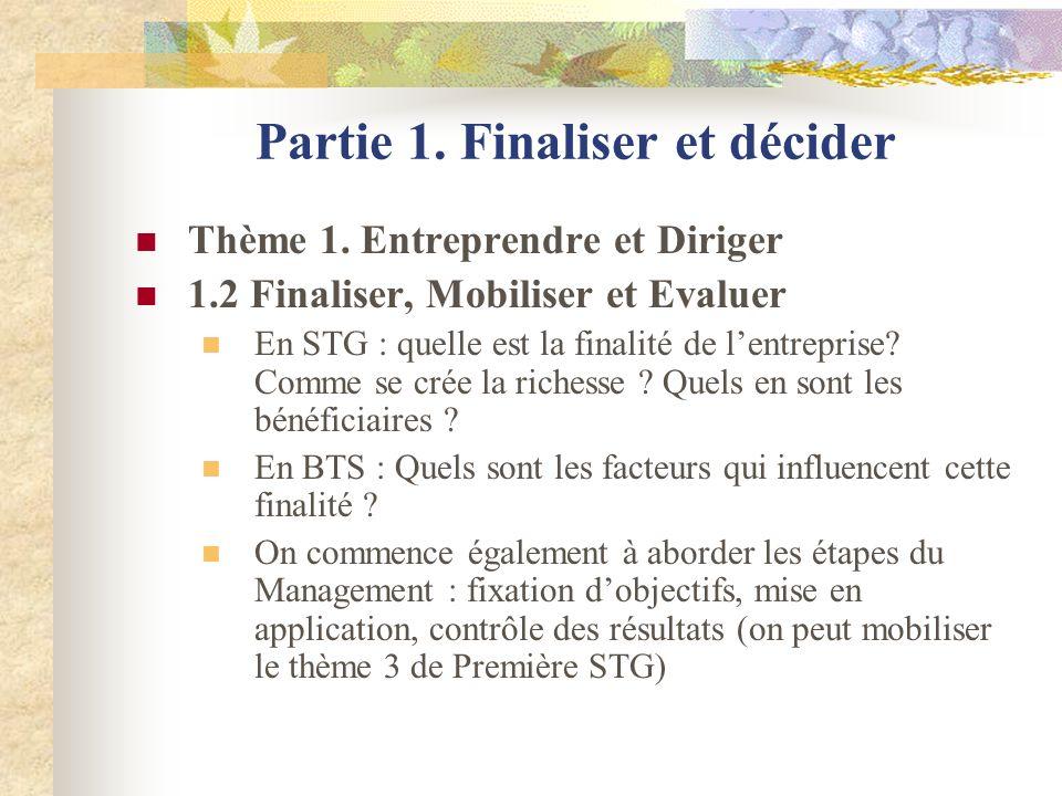 Partie 1. Finaliser et décider Thème 1. Entreprendre et Diriger 1.2 Finaliser, Mobiliser et Evaluer En STG : quelle est la finalité de lentreprise? Co