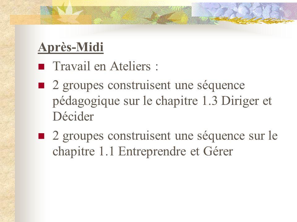 Après-Midi Travail en Ateliers : 2 groupes construisent une séquence pédagogique sur le chapitre 1.3 Diriger et Décider 2 groupes construisent une séq