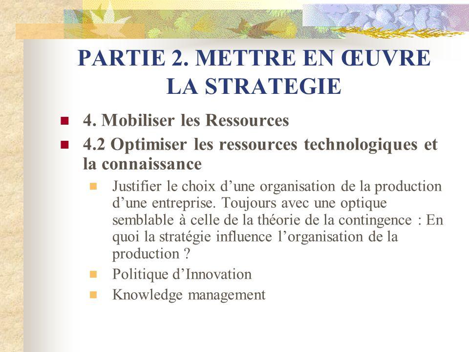PARTIE 2. METTRE EN ŒUVRE LA STRATEGIE 4. Mobiliser les Ressources 4.2 Optimiser les ressources technologiques et la connaissance Justifier le choix d