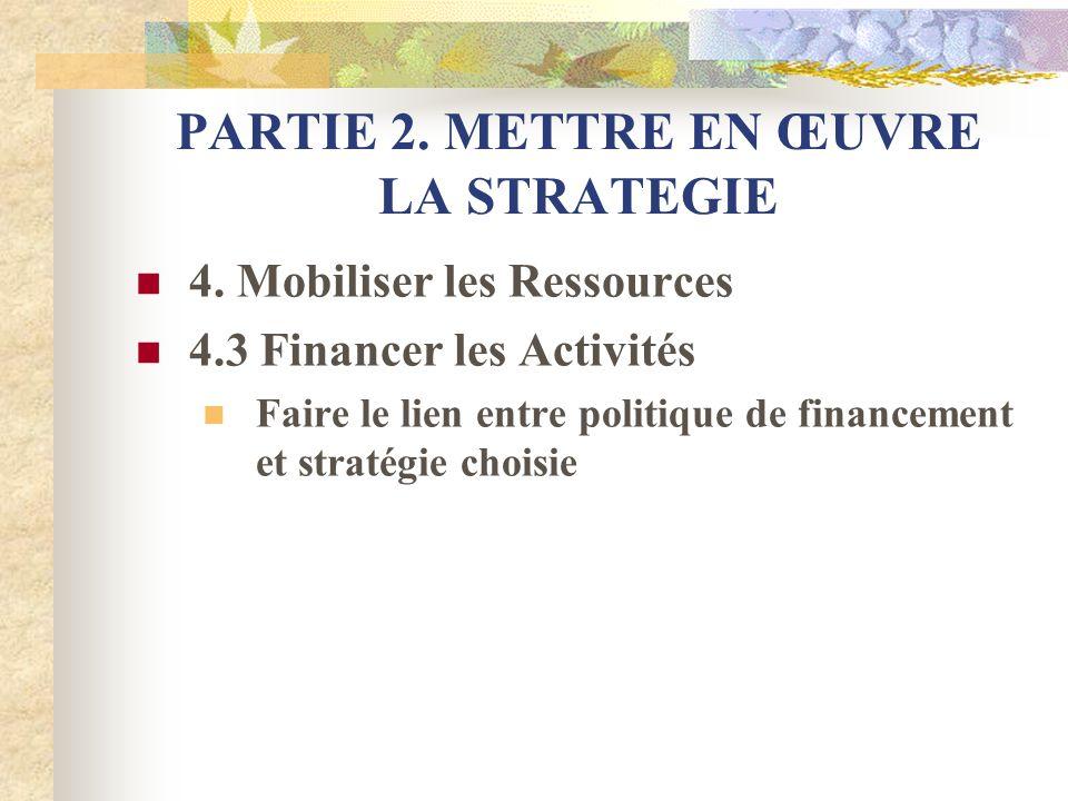 PARTIE 2. METTRE EN ŒUVRE LA STRATEGIE 4. Mobiliser les Ressources 4.3 Financer les Activités Faire le lien entre politique de financement et stratégi