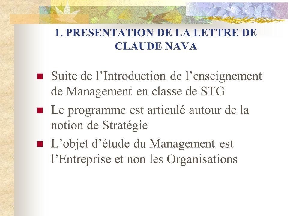 1. PRESENTATION DE LA LETTRE DE CLAUDE NAVA Suite de lIntroduction de lenseignement de Management en classe de STG Le programme est articulé autour de