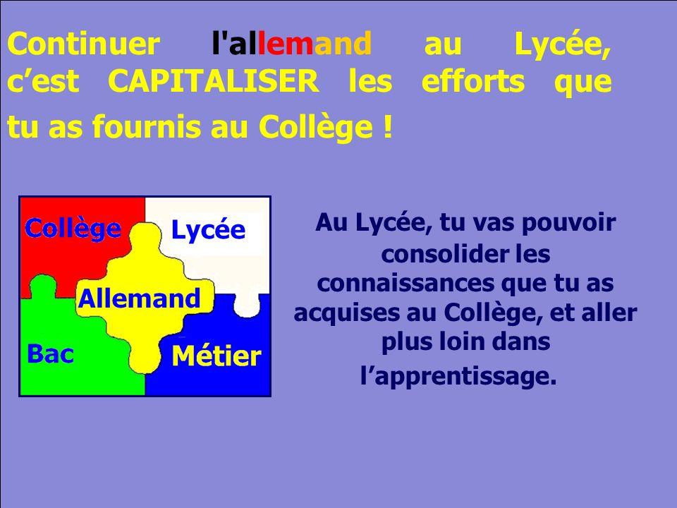 © Cers und Partner 2004 14 Continuer l allemand au Lycée, cest CAPITALISER les efforts que tu as fournis au Collège .