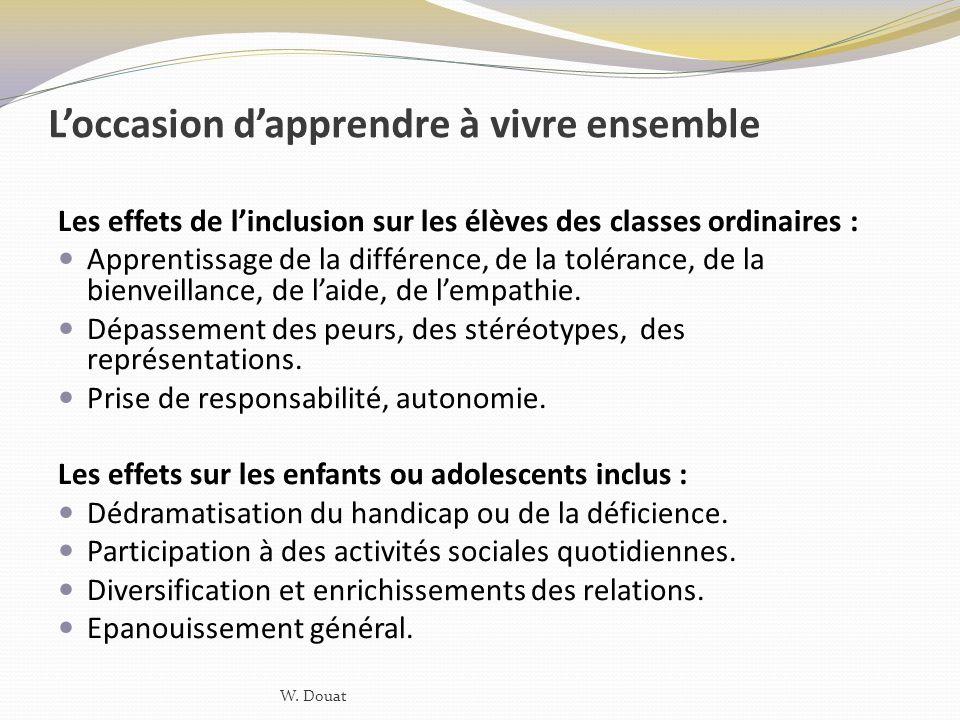 Loccasion dapprendre à vivre ensemble Les effets de linclusion sur les élèves des classes ordinaires : Apprentissage de la différence, de la tolérance