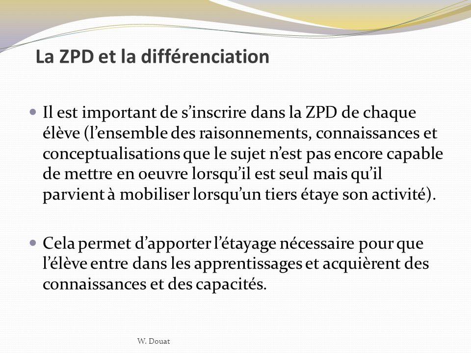 La ZPD et la différenciation Il est important de sinscrire dans la ZPD de chaque élève (lensemble des raisonnements, connaissances et conceptualisatio