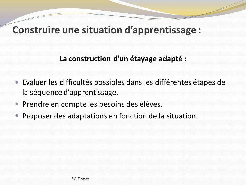 Construire une situation dapprentissage : La construction dun étayage adapté : Evaluer les difficultés possibles dans les différentes étapes de la séq
