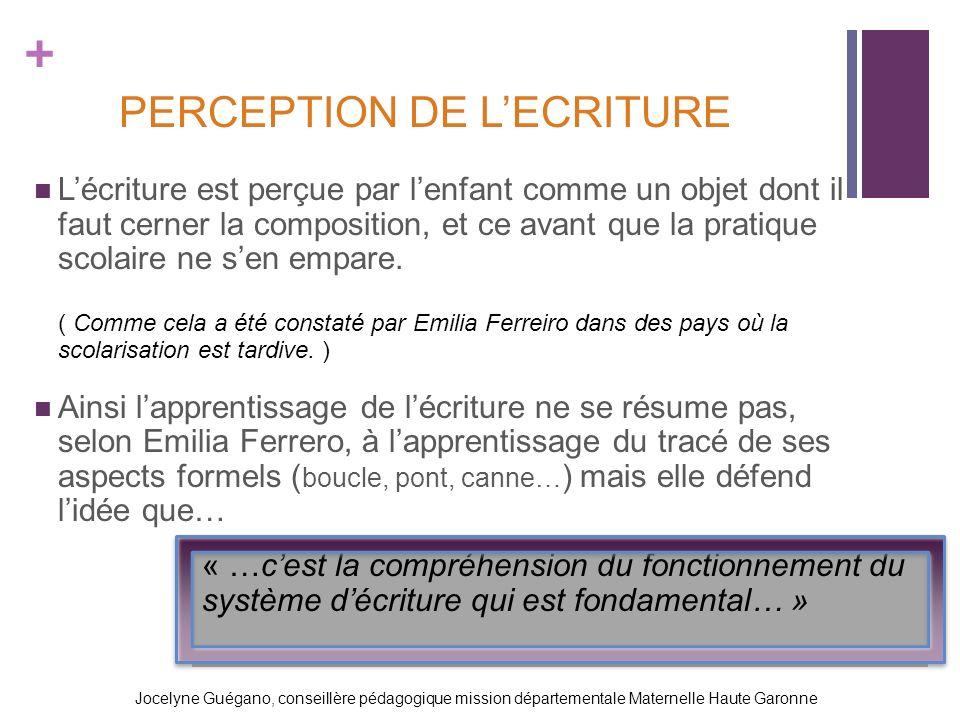 + PERCEPTION DE LECRITURE Lécriture est perçue par lenfant comme un objet dont il faut cerner la composition, et ce avant que la pratique scolaire ne