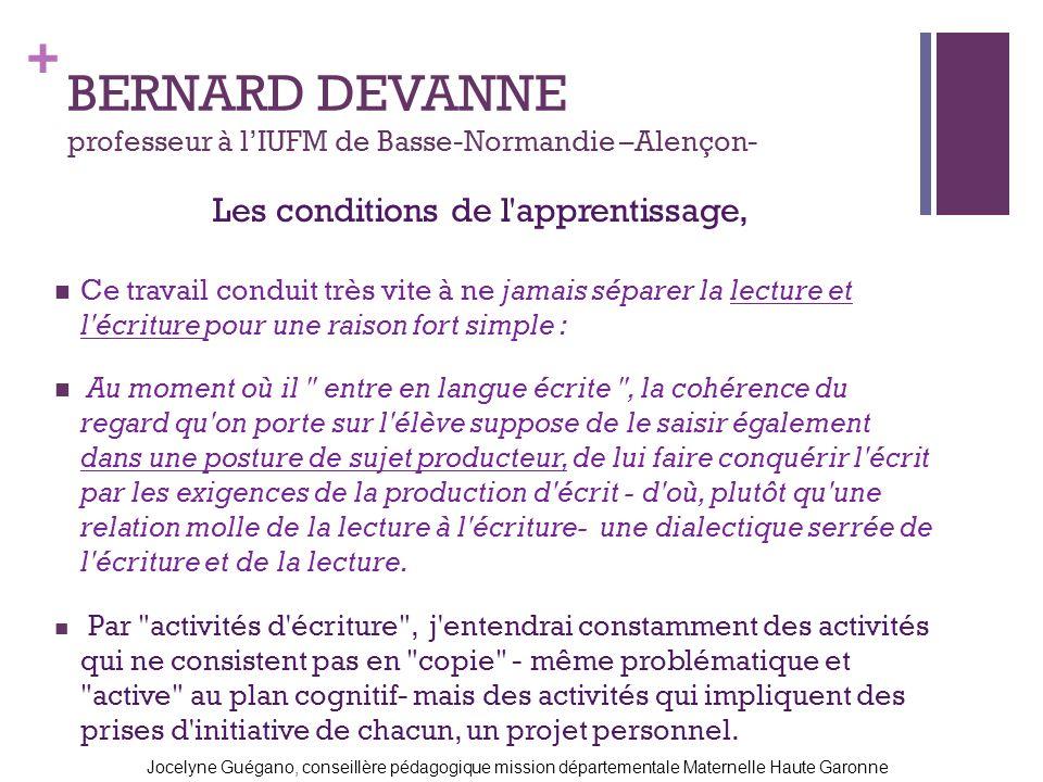 + BERNARD DEVANNE professeur à lIUFM de Basse-Normandie –Alençon- Ce travail conduit très vite à ne jamais séparer la lecture et l'écriture pour une r